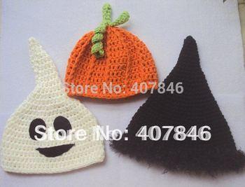 Handmade crochet baby halloween hats 0-8Y kids cute children's caps ghost witch  pumpkin 18pcs/lot cotton custom
