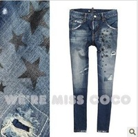 Cool! New Coming Star Graffiti Frayed Harem Pants Dropped CrotchesJeans For Ladies Women