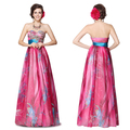 HE09820HP Free Shipping Floral Printed Embroidery Strapless Empire Line Prom Dress