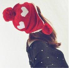 New 2014 Ear Protection Women Winter Warm Cap Heart  Knitted Autumn Earmuffs  Hat Girlrs Winter Cap Ladies(China (Mainland))