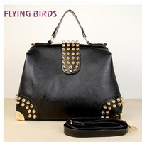 FLYING BIRDS 2012 Hot New Design Women Fashion Rivet Motorcycle Handbags Retrpo Doctor Shoulder Bag PU Leather Women HC046