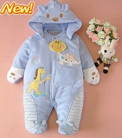 Retails (0-1Y) Newborn Infant Baby Winter Rompers Cartoon Cotton Padded Jumpsuits Coveralls for boys girls freeshipping