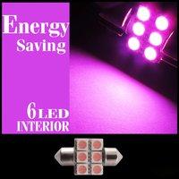 Free Shipping 10pcs Pink High Power 31mm 6smd Led Lamp Festoon Dome Bulb 12V License light