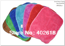Free shipping-- Coral fleece towel, (5PCS/Lot),Size 30x40CM, Microfiber towel,Wash cloth,Car cleaning cloth, Multicolor option(China (Mainland))