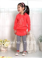 spring autumn cotton clothing set girls sweatshirt suit kids hoodie+skirt pants 2pcs outfits children  baby casual fashion wear,