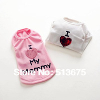 "Free shipping  Special ""Love my Mommy"" summer dog vest  clothes pet clothes Puppy clothes dog S M L XL Sizes T-shirt"
