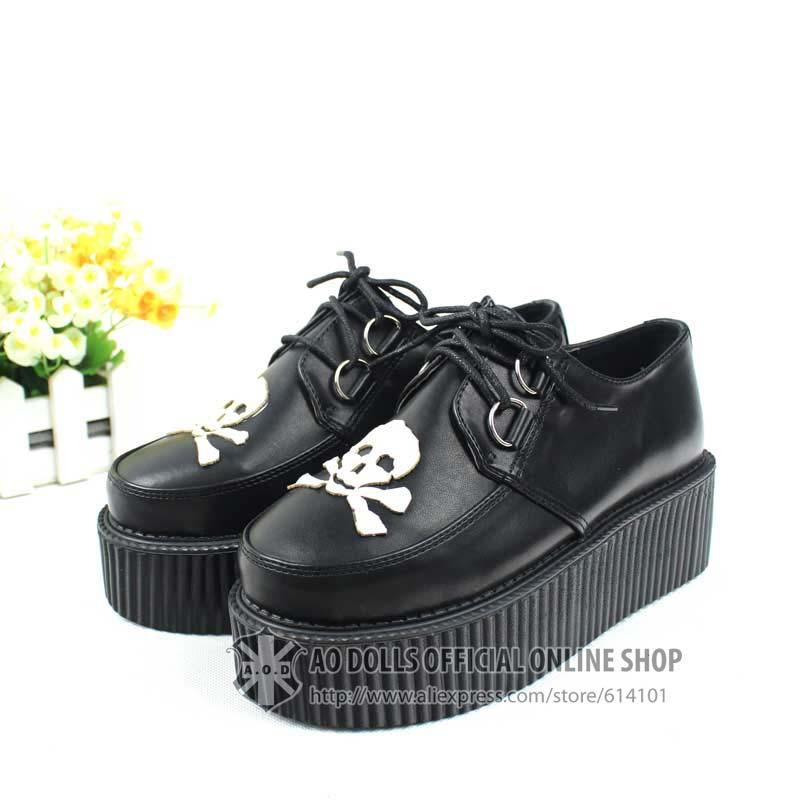 Di alta qualità a caldo vendere classica goth punk rampicanti scarpe per Harajuku ragazze euro35-39 pu158-26 spedizione gratuita