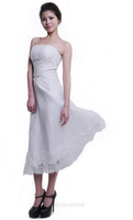 New Stock White Bridesmaid Long Formal Wedding Evening Bride Lace Dress Off The Shoulder LF102