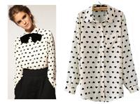 Autumn Spring 2014 Long Sleeve White Heart Printing Pattern Chiffon Blouses Shirt Women Clothing blusas femininas European Style