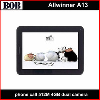 7 inch  Android 4.0 Allwinner A13 512M 4GB dual camera phone call tablet with sim card slot tablet pc with gsm black white