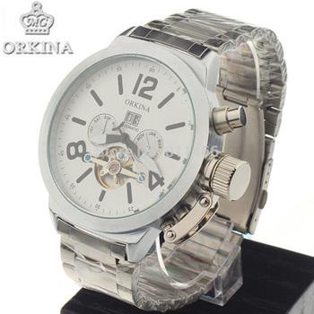 Men's Full Steel Kinetic Watch Tourbillion Automatic Self-wind Mechanical Dress  Watches Date/Month/Week Display-ORKINA 023