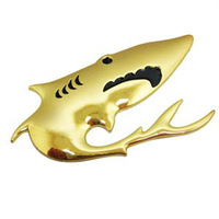 Free shipping 5pcs/lot Funny 3D Shark 100% metal Car Stickers Decoration Badge Graphics Side Decals with blister card packing
