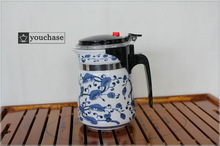 6 patterns available 500ml DEHUA porcelain office teapot blue and white mug integrative and convenient design
