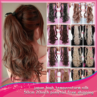 "20"" 50cm P002 Long Wavy Curly Hair Synthetic  Ponytail Extensions For Sexy Lady  Color Good Quality Free Shipping"
