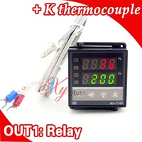 Dual Digital RKC PID Temperature Controller REX-C100 with thermocouple K, Relay Output