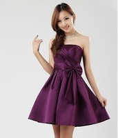 2014 new arrival Boob  tube top dress  short formal dresses evening dress  purple short prom dresses gowns