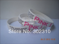 Think Pink Wristbands For Breast Cancer Awareness, Printed Pink Ribbon Bracelet, Promotion Gift, 100pcs/Lot, Free Shipping