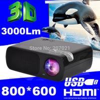 3000Lumens 2HDMI 2USB Portable Mini HD Video TV LED LCD Beamer Home Theater 3D Projector Prosjektor support 720p 1080P CT20