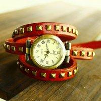 Christmas holiday sale  Punk Fashion watch 5 COLORS Wholesale Real Cow Leather bracelet watch women Wrist Quartz Watch kow004