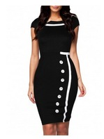2013 European and American big hit color stitching temperament retro fashion single-breasted skirt dress