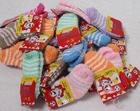 NEWS  2014 Baby warm velvet striped socks children's socks kid's indoor Floor socks  5 size