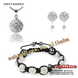 Christmas Promotion Shamballa Sets(85Pcs)Crystal Earrings/(85Pcs)Crystal Neckalce Pendant/Bracelet Shambala Sets SHSTA0002(China (Mainland))
