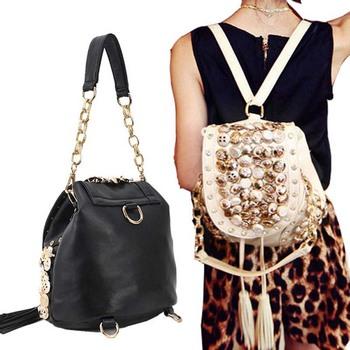 2014 New Arrival Korea Style Fashion Leather Shoulder Bag Backpack, Women Revet Casual Backpack Bags Black/White Y32 B500#M5