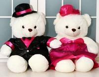 High quality 28cm bride and bridegroom wedding teddy bear plush toy couple wedding gift / wedding accessories