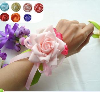 New Year Handmade Wholesale 10pcs Prom  Boutonniere Wedding Decoration Brides Corsage Wrist Flower Bracelet Pink FL121