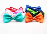 Free shipping Adjustable cat dog cheap Bow necklace Tie Necktie Neck Collar Cute gift mix colours