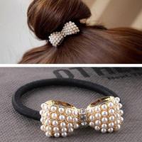 New Elegant Rhinestone Imitation Pearl Bowknot Hairband Headband Hairpin for Girls Casual Beautiful Ornament