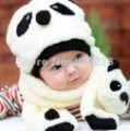 free shipping! Winter baby hat scarf twinset baby panda modelling cap children warm cap lambs