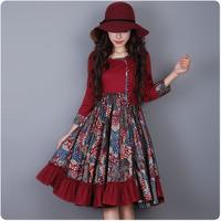 [LYNETTE'S CHINOISERIE - YHT ] Autumn Plus Size Women Dress - Chinese Style Floral Print Vintage Lady Dress Sz S M L XL XXL XXXL