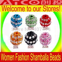 Wholesale 18pcs/lot Shamballa Beads - Free Shipping Mixed Colorful Shambhala  clay Beads Spacer Beads Fit Shambhala Bracelets