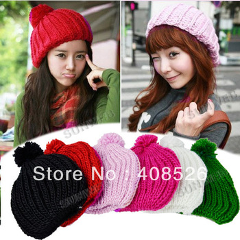 Korea Style Woman Girls women's Candy Colors Woolen Knitting Hat Knitted Beanie Warm hat Winter Cap 7 Colors free shipping 7673