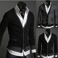 Holiday Sale Fashion Men's Knitwear Cardigan Slim Casual Mock Pockets Sweater Coat M L XL 3389