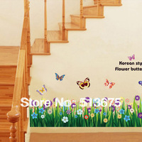 Free Shipping 2pcs/lot 50*70cm Butterfly flowers cartoon wall stickers wallpaper removable waterproof wall pvc sticker