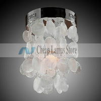 Free shipping, Fast Delivery,100% Satisfication Guarantee- Chrome Finish Shell Flush Mount for Living Room, Bedroom in Crystal