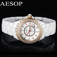 Aesop white ceramic watch fashion women's rhinestone wristwatch gold diamond ring dial NEW ARRIVAL 9906