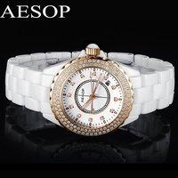 Classical AESOP Ceramic CZ Diamond Women Dress Rhinestone Watches Date Day Display Steel Case Feminino Fashion Quartz Watch 9906