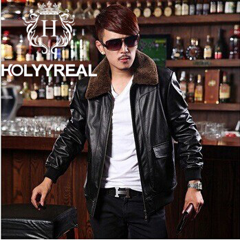 2014 New Style Men's Genuine Cow Leather Flying Jacket Coat For Spring Autumn Black Leather Outerwear With Lambswool Fur Collar