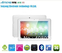 "10.1"" Capactive Ampe A10 Dual Core Tablet PC,CPU 1.2GHz,IPS Screen,Qualcomm Built in 3G,Cameras Wifi Bluetooth GPS"