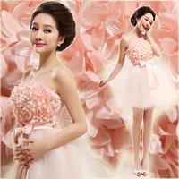 Free shipping Wedding dress bridal tube top short design pink princess bridesmaid dress 2899