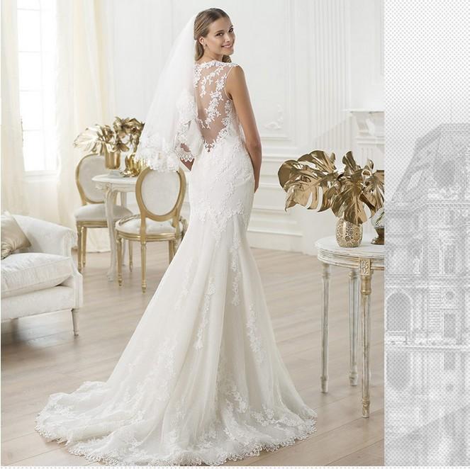 sexy lace flower V-neck sleeve mermaid wedding dress fashion 2015 new style train vestido de noiva sereia 1881 gp(China (Mainland))