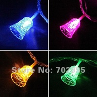 Waterproof Jingle Bells LED Christmas lights,10M 100leds(100 bells)  with controller,End to End,7colors available