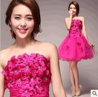 Purple Short dress 2014 new women flower evening dresses Strapless tutu princess dresses 7911