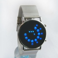 Super deal Metal Band Circular Mirror LED watch with fashion style,Steel band Mirror led digital watch Free Shipping