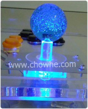 2 pcs/lot BLUE lighted Illuminated  joystick with BLUE crystal bobble top ball and microswitch , parts for arcade game machine