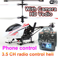 352W 3.5CH Wifi/Radio Dual Remote Control RC Real-Time Transport Helicopter With Gyro Camera iphone rc helicopter FSFSAWB