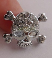 hot sale 20pcs Slider skull Rhinestone crystal Beads Fit 8mm Belt  Bracelets A1645